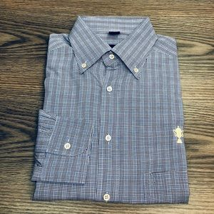 Jeff Rose Blue, White & Navy Plaid Shirt L